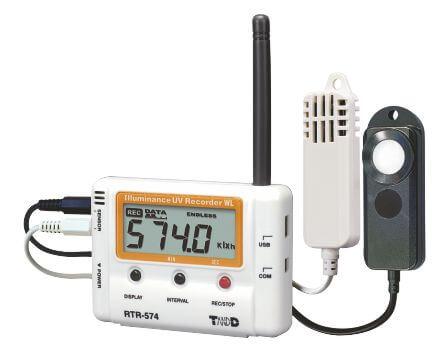 Radiowy rejestrator temperatury, wilgotności, promieniowania UV i naświetlenia lux RTR-574-H, sondy zewnętrzne, zwiększony zakres i dokładność
