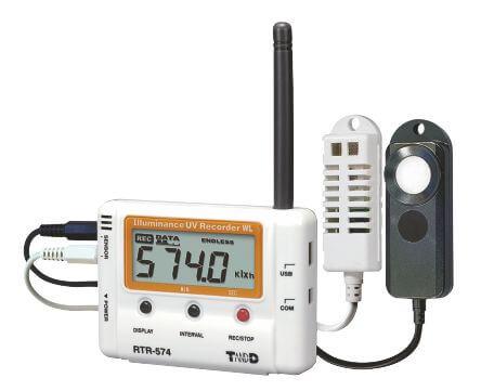 Radiowy rejestrator temperatury, wilgotności, promieniowania UV i naświetlenie lux RTR-574, sondy zewnętrzne