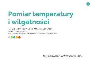 Pomiar temperatury i wilgotności w świetle rozporządzenia MZ z dnia 13 marca 2015r. – Dobra Praktyka Dystrybucyjna (GDP)