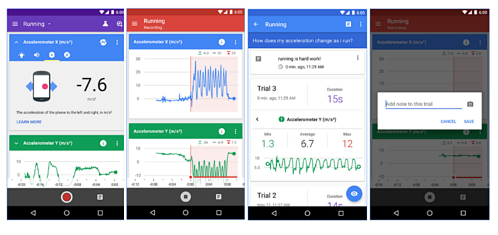 Aplikacja Google Science Journal